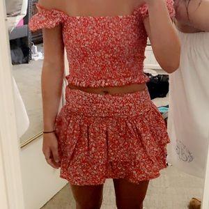 Red flower print smocked set wrap skirt